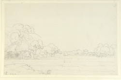 Landscape with trees and fort in distance, Bisoulah (U.P.). 19 May 1789